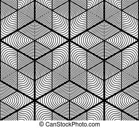 Endless monochrome symmetric pattern, graphic design. ...