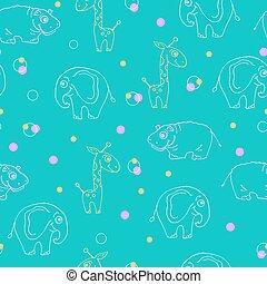 Endless pattern of animals. Giraffe, hippopotamus and elephant.