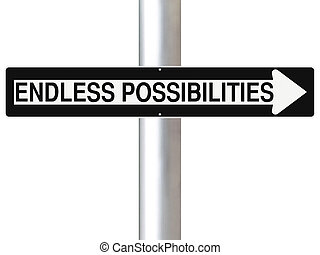 Endless Possibilities - Conceptual one way sign indicating...