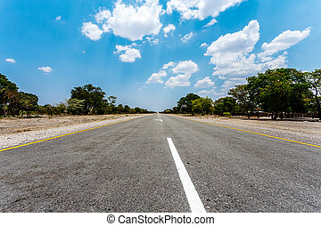Endless road with blue sky - Endless road in Namibia,...