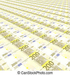 Endless rows of euro banknotes