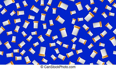 Endless seamless pattern of medical scientific medical items for jars for pills and medicine pills with capsules on a blue background. Vector illustration