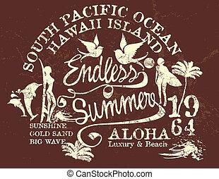 endless summer retro style vector art
