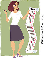 Endless to do list - Stressed young woman holding a ...
