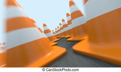 Endless traffic cones flight