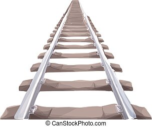Endless train track. - Perspective view of straight Train...