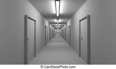 Endless white corridor with doors seamless loop 4K