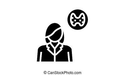 endocrinology medical specialist animated glyph icon. endocrinology medical specialist sign. isolated on white background