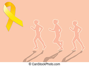 Endometriosis march with yellow ribbon