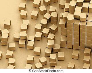 endommagé, montage, blocs, or