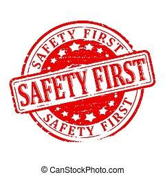 endommagé, rond, rouges, timbre, à, les, mot, -, sûreté abord