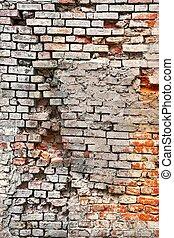 endommagé, vieux, briques, maçonnerie, cassé, blanc, plâtre,...