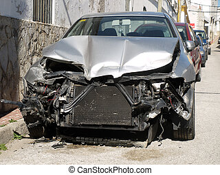 endommagé, voiture, après, une, accident