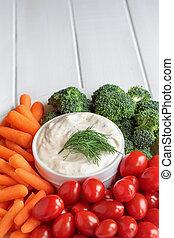 endro, legumes, fazenda, vestindo, fresco, branca, tabela, sobre