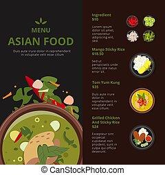 endroit, nourriture, text., menu., vecteur, conception, asiatique, gabarit, illustrations, produits, thaï, ton
