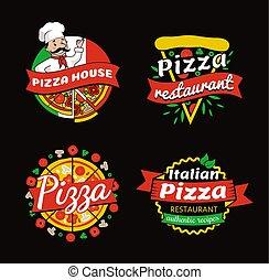 endroits, promotionnel, élevé, emblèmes, qualité, pizza