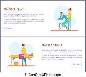 endroits, vecteur, traitement, table, chaise, masage