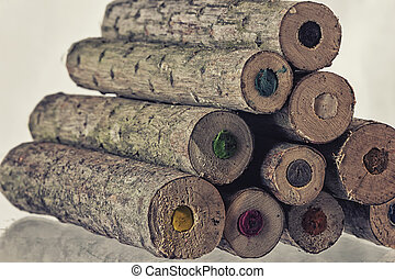 Ends of large natural coloured pencils