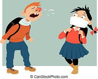 enduisage, école, germes