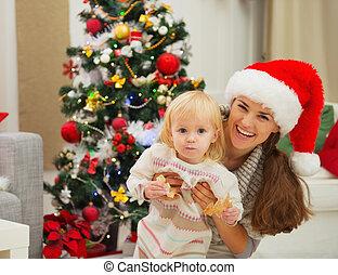 enduit, arbre, manger, mère, bébé, portrait, noël