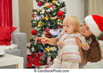 enduit, espace, arbre, manger, regarder, mère, bébé, copie, noël