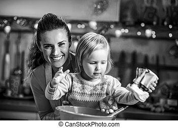 enduit, farine, cooki, mère, bébé, portrait, noël, confection