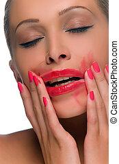 enduit, femme, rouge lèvres