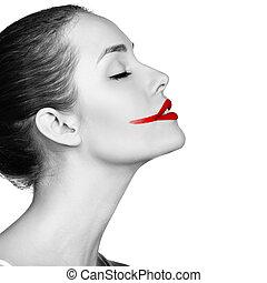 enduit, femme, rouge lèvres, visage rouge