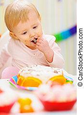 enduit, manger, bébé, gâteau anniversaire, manger