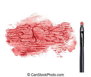 enduit, maquillage, rouge lèvres, brosse rouge