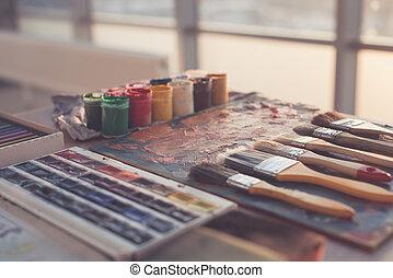 enduit, palette, ensemble, art, photo, brosses, aquarelle, gouache, huile, peintures, studio.