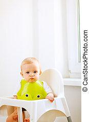 enduit, séance, bébé, portrait, chaise, agréable, manger