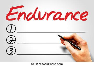 Endurance blank list, fitness, sport, health concept
