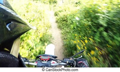 Enduro bike rider POV - Enduro riding POV on mountain trails...