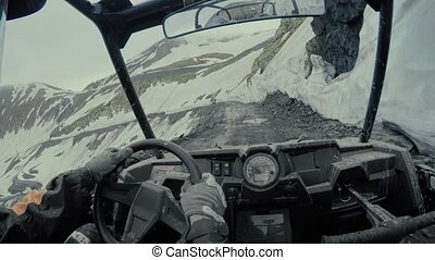 Enduro journey with Buggy car high in the Caucasian high...