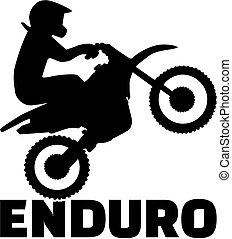 Enduro word and driver silhouette