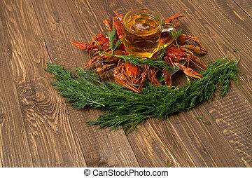 eneldo, cerveza, crayfishes