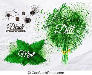 eneldo, pimienta, menta, acuarela, hierbas, negro, especias