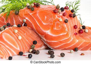 eneldo, salmón, filete