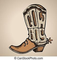 enemigo, ilustración, aislado, vector, vaquero, diseño, boot...