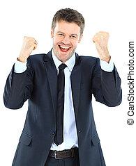 energético, éxito, -, aislado, contra, joven, retrato, hombre de negocios, blanco, el gozar