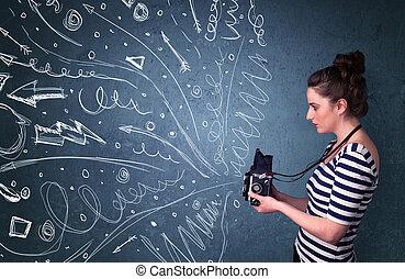 energético, fotógrafo, linhas, mão, enquanto, câmera, desenhado, imagens, doodles, menina, tiroteio, saia
