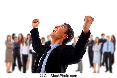 energético, hombre de negocios, brazos, feliz, muy, uno, ...