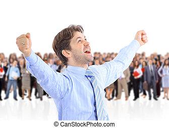 energético, hombre de negocios, brazos, feliz, muy, uno, levantado, el suyo