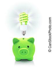 energético, idéia, verde, poupar
