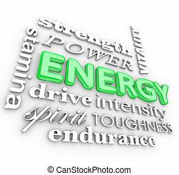energía, 3d, palabra, collage, potencia, aguante, fuerza,...