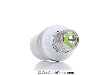 energía, ahorro, foco, con, verde, línea