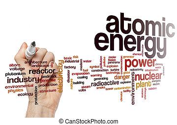 energía atómica, palabra, nube
