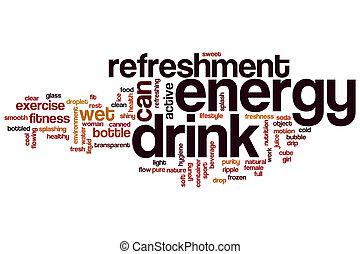 energía, concepto, palabra, nube, bebida