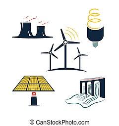 energía, conjunto, industria